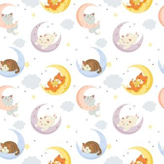 Lindo gato en la luna con nubes y patrón de puntos