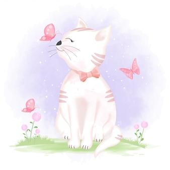 Lindo gato y mariposas, ilustración dibujada a mano