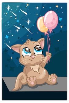 Un lindo gato marrón sosteniendo dos globos bajo la iluminación del cielo nocturno.