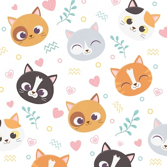 Lindo gato mascota cara corazones amor follaje dibujos animados ilustración de fondo