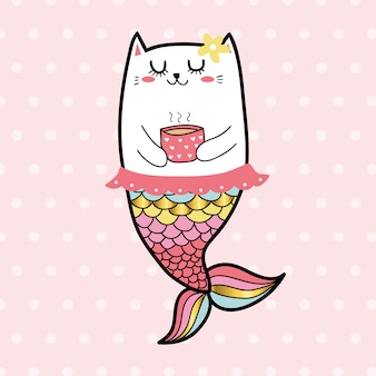 Lindo gato mermaid sweet girl color pastel