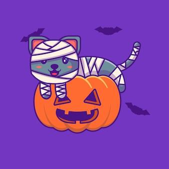 Lindo gato momia en calabaza feliz halloween con ilustraciones de dibujos animados