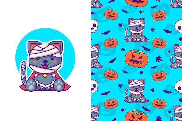 Lindo gato momia y calabaza feliz halloween con patrones sin fisuras