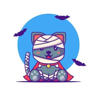 Lindo gato momia feliz halloween con ilustraciones de dibujos animados