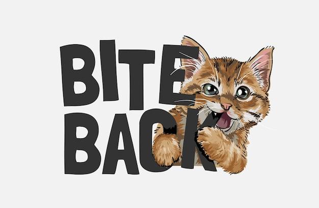 Lindo gato mordiendo mordedura lema ilustración