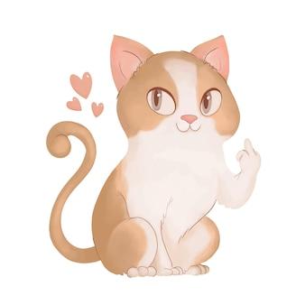 Lindo gato mostrando símbolo de mierda