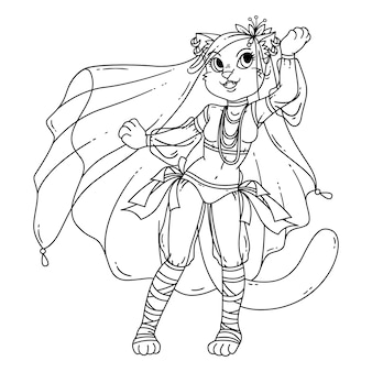 Lindo gato mujer bailarina del vientre.
