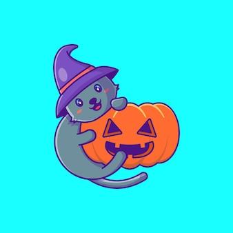 Lindo gato negro con calabaza feliz halloween ilustración de dibujos animados