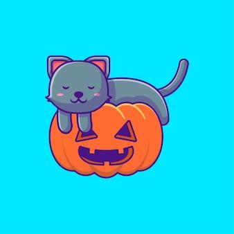 Lindo gato negro durmiendo en ilustraciones de dibujos animados de calabaza feliz halloween