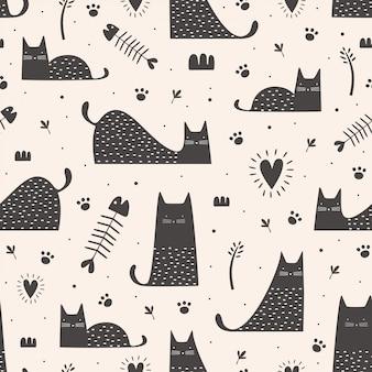 Lindo gato negro de patrones sin fisuras con dibujado a mano infantil