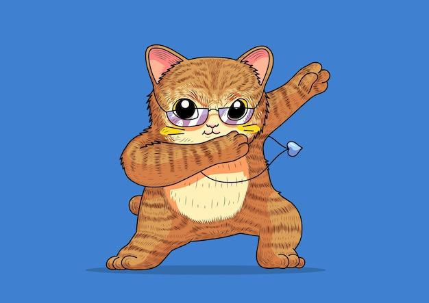 Lindo gato nerd divertido estilo dabbing