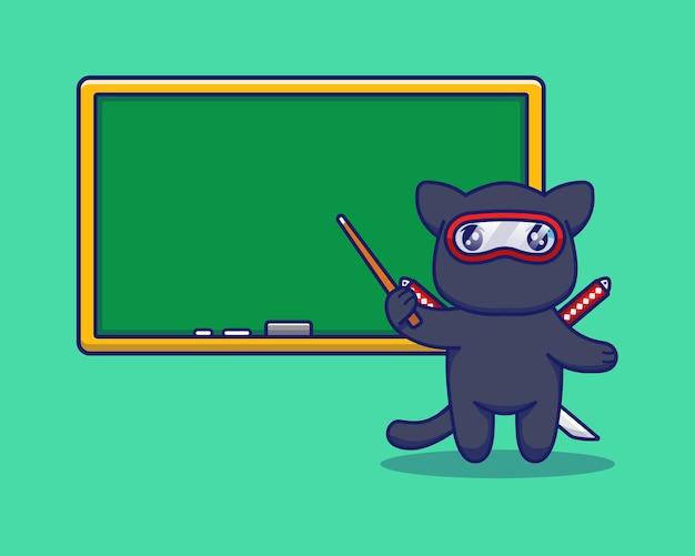 Lindo gato ninja enseñando con una pizarra