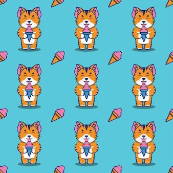 Lindo gato o gatito comiendo helado de patrones sin fisuras