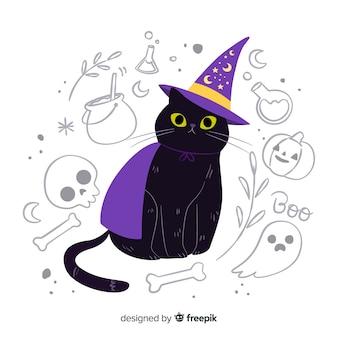 Lindo gato con ojos amarillos y sombrero de bruja