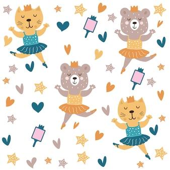 Lindo gato y oso bailando ballet patrón