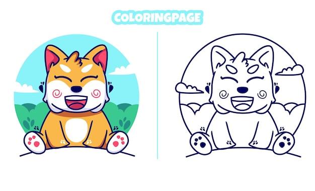 Lindo gato con página para colorear