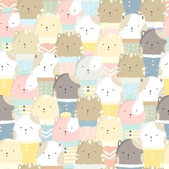 Lindo gato de patrones sin fisuras de color pastel