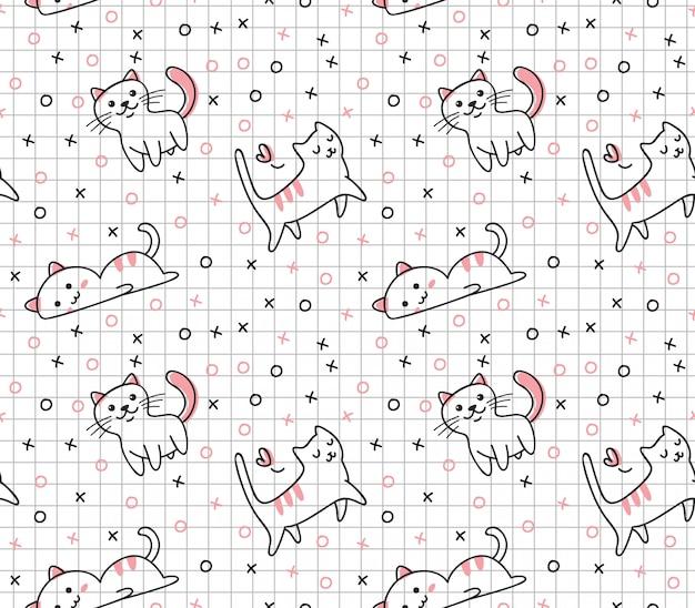 Lindo gato de patrones sin fisuras en estilo doodle de kawaii