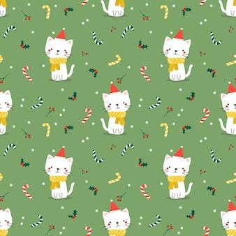 Lindo gato en patrones sin fisuras de tema de navidad