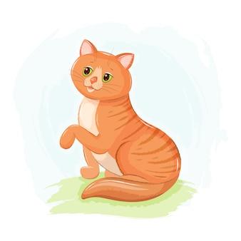 Lindo gato pelirrojo con ojos verdes, sentado en el césped, dibujado a mano ilustración acuarela