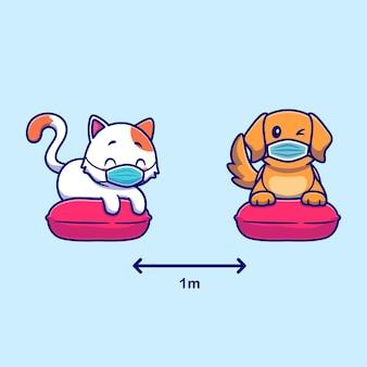 Lindo gato y perro ilustración de dibujos animados de distanciamiento social