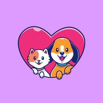 Lindo gato y perro con ilustración de icono de amor. concepto de icono animal aislado. estilo plano de dibujos animados Vector Premium