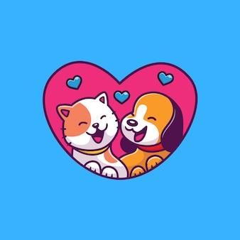 Lindo gato y perro con ilustración de icono de amor. concepto de icono animal aislado. estilo plano de dibujos animados
