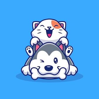 Lindo gato y perro con ilustración de icono de hueso. concepto de icono animal aislado. estilo plano de dibujos animados