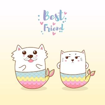 Lindo gato y perro sirena dibujos animados dibujados a mano