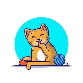 Lindo gato con personaje de dibujos animados de bolas de hilo. naturaleza animal aislada.