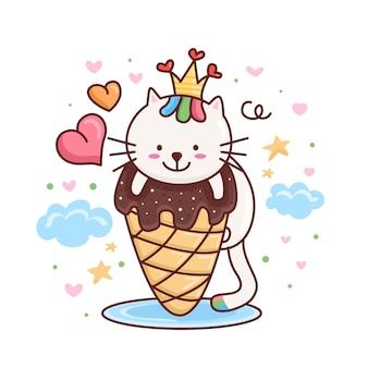 Lindo gato con personaje de dibujos animados de helado
