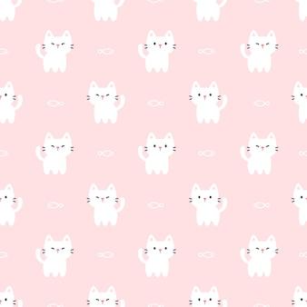 Lindo gato y pez de patrones sin fisuras