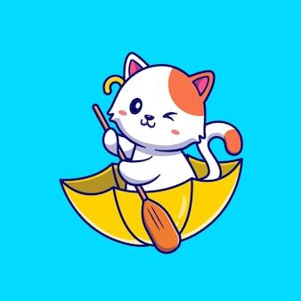 Lindo gato remando con paraguas barco ilustración de dibujos animados. concepto de vacaciones de animales aislado. estilo de dibujos animados plana