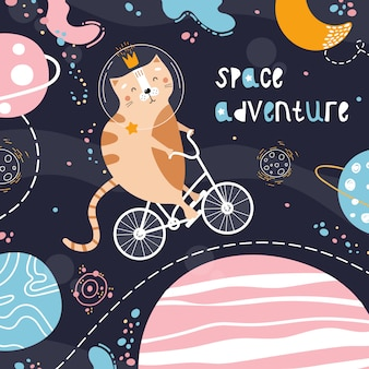 Lindo gato rojo en una bicicleta en el espacio