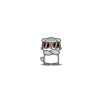 Lindo gato scottish fold con gafas de sol cruzando los brazos dibujos animados