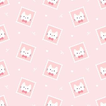 Lindo gato sello postal de patrones sin fisuras