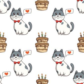 Lindo gato sentado con pastel de cumpleaños en patrones sin fisuras con estilo doodle de colores sobre fondo blanco.
