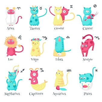 Lindo gato signos del zodiaco, ilustración aislada