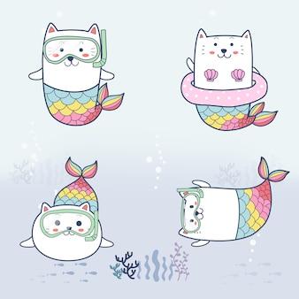 Lindo gato sirena dibujos animados dibujados a mano buceo bajo el mar