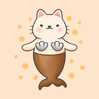 Lindo gato sirena dibujos animados estilo dibujado a mano