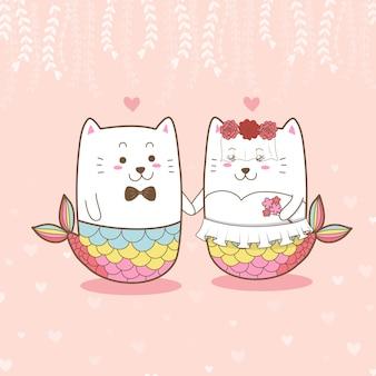 Lindo gato sirena pareja boda dibujos animados para el día de san valentín