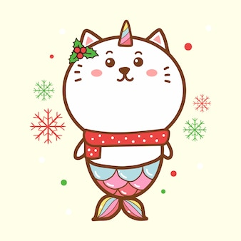 Lindo gato sirena unicornio feliz navidad kawaii dibujos animados dibujados a mano.