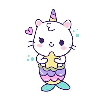 Lindo gato sirena vector con estrella de dibujos animados