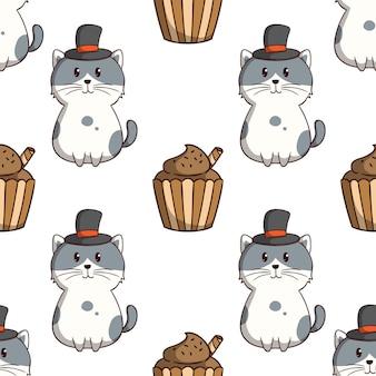 Lindo gato con sombrero y cupcake en patrones sin fisuras con estilo doodle de colores sobre fondo blanco.