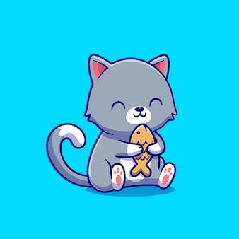 Lindo gato sosteniendo ilustración de icono de dibujos animados de pescado. concepto de icono de comida animal aislado. estilo de dibujos animados plana