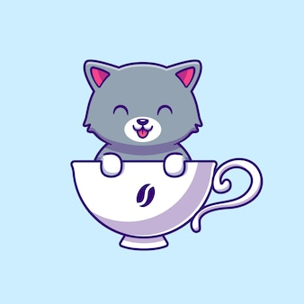 Lindo gato en taza de café de dibujos animados