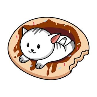 Lindo gato tendido en la ilustración de dibujos animados de donut