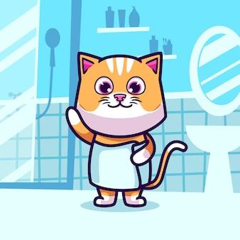 Lindo gato tomar una ilustración de dibujos animados de baño