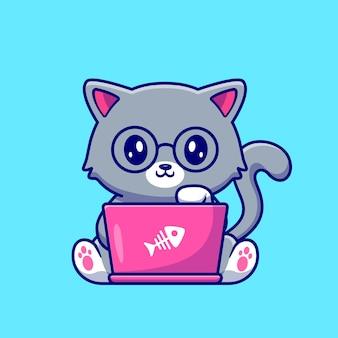 Lindo gato trabajando en la ilustración de vector de dibujos animados portátil. concepto de tecnología animal aislado vector premium. estilo de dibujos animados plana