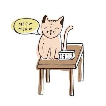 Lindo gato travieso sentado en la mesita de noche cerca del reloj digital y maullando en la noche.